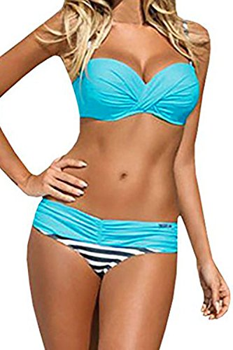 Astylish Women's Push Up Two Piece Bikini Swimsuits Padded Swimwear Bathing Suits Blue Large Size 12 14