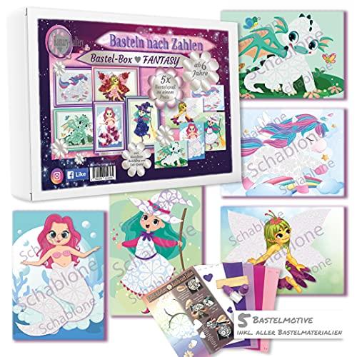 Kamary-Gallery 5 x Bastelset Bastelbox Fantasy für Kinder ab 6 Jahre, Basteln nach Zahlen 3D-Bilder basteln aus Papier, Kindergeburtstag oder für als Mitbringsel