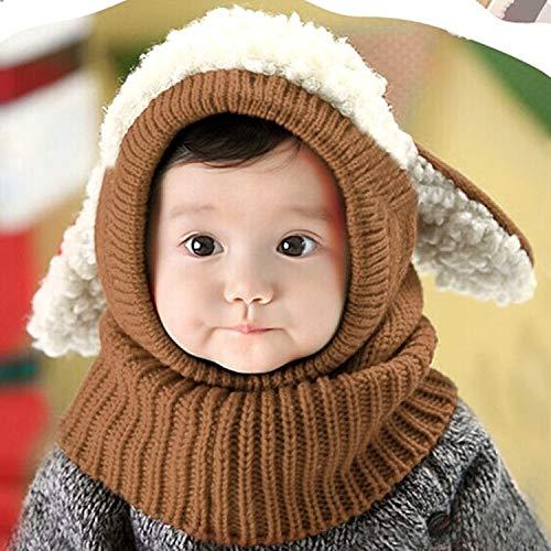 Xiaosong Bewerben Sie Sich Winter-Baby-Kind-Mädchen-Jungen Warmer Woll Coif Hood Schale Caps Hüte (Rot) (Color : Khaki)