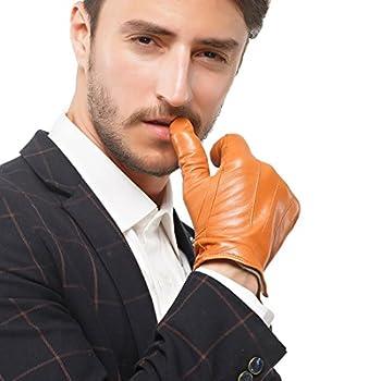 Nappaglo Men s Genuine Touchscreen Nappa Leather Gloves Driving Winter Warm Mittens  M  Palm Girth 8 -8.5   Tan  Non-Touchscreen