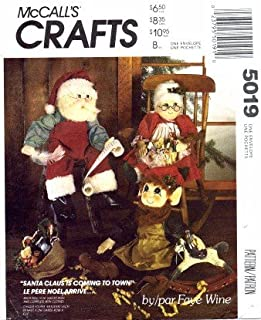 McCall's 5019 Crafts Sewing Pattern Christmas Holiday Santa Mrs. Claus Elf Doll Clothes