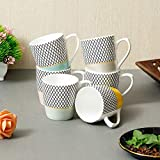 Femora Indian Ceramic Fine Bone China Handmade Multicolor Design Tea Cup Coffee Cup - 6 Pcs,160 ML - Small Serving
