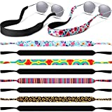 10 Pieces Neoprene Sunglasses Straps Band Floating Eyewear Retainer Durable Safe for Water Sports Outdoor Adventures, Black and Floral