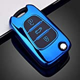 Heart Horse Carcasa de TPU suave para llave de coche, compatible con Hyundai i20 i30 i35 iX20 iX35 Sportage Verna Avante, color azul