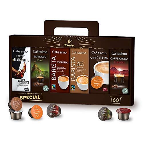 Tchibo Cafissimo Kapsel-Vielfalts-Pack, Probierbox verschiedene Sorten Kaffee, Caffè Crema und Espresso, 60 Kapseln (6 x 10 Kapseln) in einer praktischen Geschenkbox