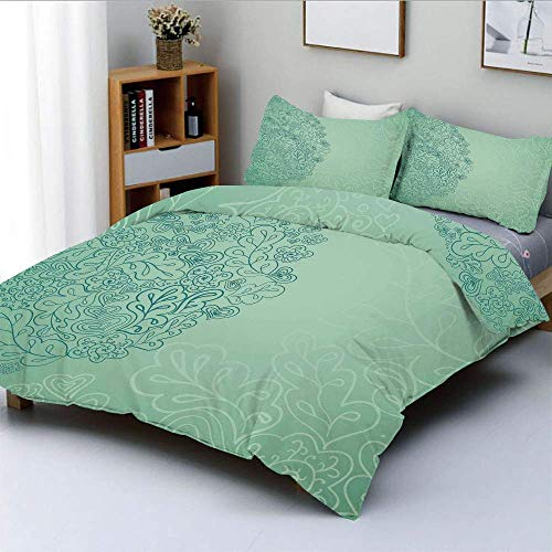 Juego de funda nórdica, patrón floral simplista con hojas mixtas, belleza botánica, naturaleza, ilustración Juego de cama decorativo de 3 piezas con 2 fundas de almohada, turquesa verde azulado, el me