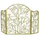 Antichispas Retro 3 Paneles Plegables Pantalla de La Chimenea, Diseño de Hoja Puerta Derecha de La Decor del Metal Al Aire Libre, Cubierta Protectora de Gas y Leña (Color : Gold)