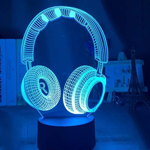 LIZHIOO Luz De Noche De Ilusión 3D, Auricular LED Sensor Táctil Luz De Noche Colorida, Conveniente Para La Decoración De Los Niños Decoración De La Sorpresa De La Luz De Regalo