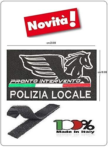 GS1 Parche con Velcro policía Locale Nuevo Logotipo Nacional Negro + Bandera Modelo Gigante 23 x 10 cm Art. PL-New-2