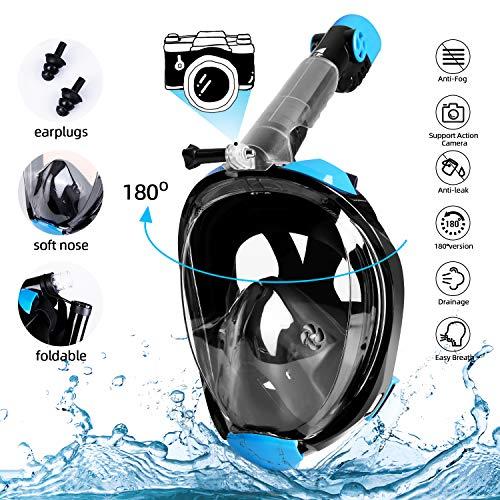 Amzdeal Máscara de buceo - Máscara de snorkel Plegable completa-mascarilla antifugas-sello de silicona a prueba , vista panorámica HD de 180 ° Compatible con soporte para cámara (L/XL)