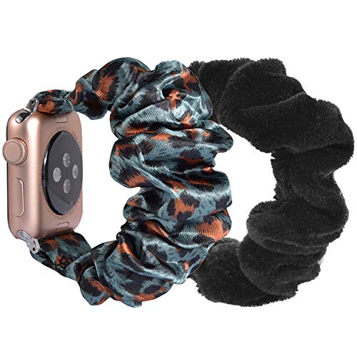 YSSNH Compatible for Apple Watch Strap 38mm 40mm Lady Scrunchie Watchband Adjustable Stretch Replacement Wristband Women Strap Elastic Bracelet for iWatch Series 6/5/4/3/2/1,SE,Nike,2pack