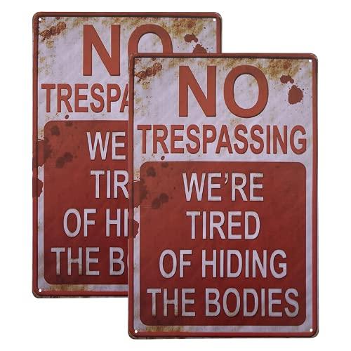 "2-Pack Retro Fashion Bar Signs Liquor No Trespassing We're Tired of Hiding The Bodies 8""x12"" Garden Decor For Men"
