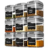 Shazo Airtight 9 Pc Mini Container Set + 9 Spoons, Labels & Marker - Durable Clear Plastic Food Storage Containers with Lids - Kitchen Cabinet Pantry Containers for Spices, Herbs, Coffee, Tea etc GRAY