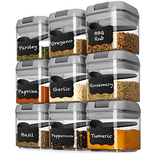Shazo Airtight 9 Pc Mini Container Set  9 Spoons Labels amp Marker  Durable Clear Plastic Food Storage Containers with Lids  Kitchen Cabinet Pantry Containers for Spices Herbs Coffee Tea etc GRAY