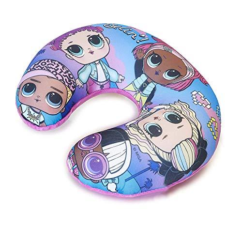 L.O.L. Surprise ! Cuscino Da Viaggio Bambina, Cuscino Aereo Con Bambole LOL Confetti Pop, Cuscino Da Auto, Supporti Per La Testa, Cuscino Collo Bambini (Blu e Viola)