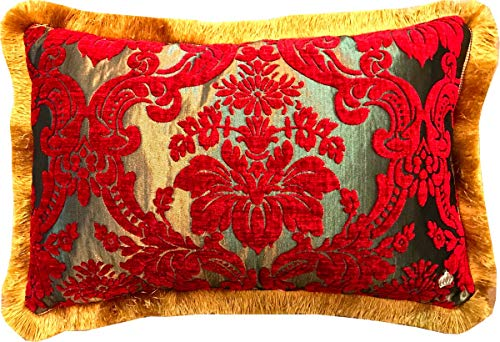 Harald Glööckler Kissen Pompöös by Casa Padrino Elegance Collection Barock Muster Rot/Gold 35 x 55 cm - Luxuskissen