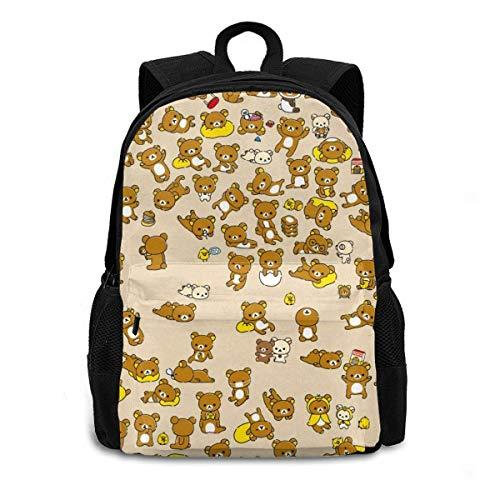 Daypacks,Rilakkuma Korilakkuma Kiiroitori Chairoikoguma Anime Kinderrucksack Rucksack, Lässige Tagesrucksäcke, 27cm(W) x34cm(H)