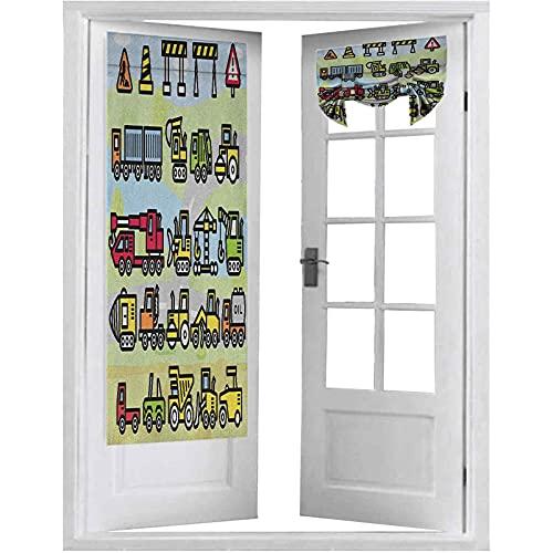 Cortinas para puertas francesas, máquinas excavadoras, letreros y vehículos en dibujo de dibujos animados para niños pequeños, 1 panel de 66 x 172 cm, bloque de luz, multicolor
