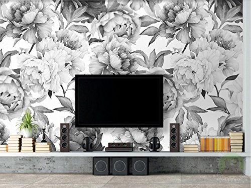Papel Pintado 3D Ikea Nórdico - De La Televisión Peonía Apaisado Fotomurales 3D TV Fondo Pared Murales Papel Tapiz Moderno