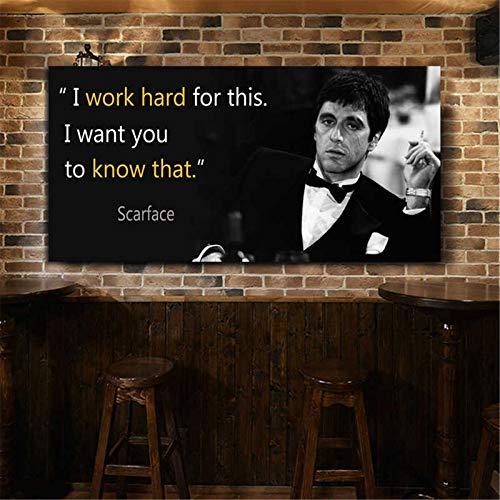 adgkitb canvas WANGART Leinwand Malerei Scarface Zitate Poster Außergewöhnliche Wandkunst Druck Tony Montana Porträt Wandbild für Wohnzimmer 60x120cm