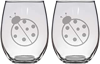 Set of 2 stemless wine glasses with ladybugs, great gift for him or her, wine lovers