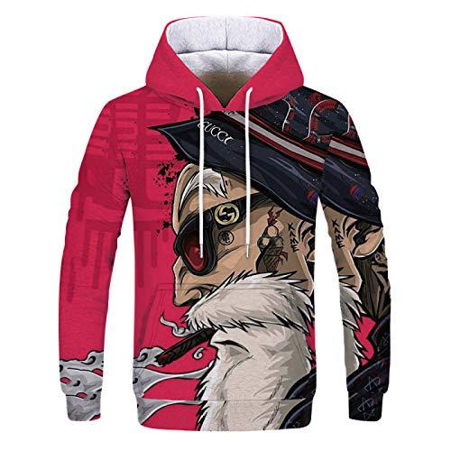 New Sherpa Pullover Hoodie Sweatshirt Long Sleeve Sports Front Pocket Hoodie Men 3D Digital Printing XL