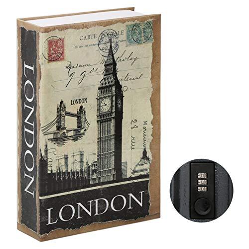 Parrency Buchsafe mit Zahlenschloss, versteckter Safe Lock Box, groß, Medium, 22 x 15 x 3.8 cm - Medium, London, SBH-MM-M006