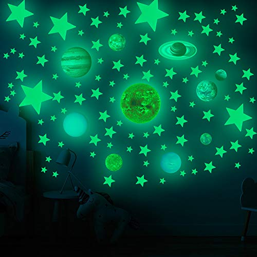 Glow in The Dark Stars and Planets Solar System Wall Decals, 110PCS Glowing Ceiling Spaceship Stars Wall Stickers, Best Gift for Kids Bedding Room Nursery Home Decoration Party Birthday(Small Size)