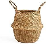 BSLVWG Cesta de junco marino tejida a mano con asas, cesta para almacenamiento de plantas y ropa, cesta para pícnic y alimentos, organizador de juguetes (L)