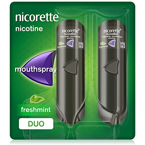 Nicorette QuickMist Mouth Spray, Freshmint Flavour, Nicorette Quickmist Duo Nicotine Spray, 1 mg
