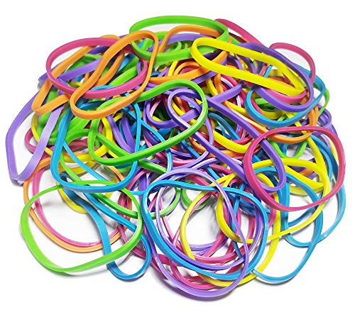 100Pcs 1.5 x 3mm Medium Size Multicolor Assorted Rubber Bands Bulk Elastic Wide Money Rubber Bands Ring Stationery Holder Sturdy Stretchable Band Loop School Home Bank Office Supplies
