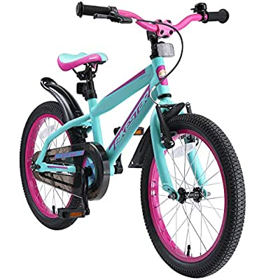 BIKESTAR Kids Bike Bicycle for Kids Age 4-5 Year Old Children | 18 Inch Mountain Bike Edition for Boys and Girls | Berry & Turquoise