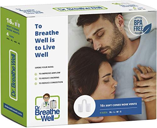 Dr. Breathe Well - 16 Dilatadores Nasales Antironquidos - 4 Tallas distintas - Dilatador nasal antironquidos tipo suave