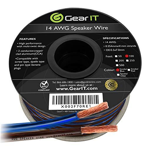 GearIT Cable de altavoz Pro Series de calibre 14 (2 x 2,5...