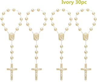 30 Pc Magnetic White Baptism Conducive to Seven-Color Accent Mini Rosary AB Acrylic Beads/Recuerditos De Bautismo/Christening Favors/Decenarios/Ten Years/Finger Rosary (Ivory)