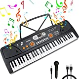 61-Key Piano Keyboard Portable Digital Electronic Keyboard with Music Stand & Microphone