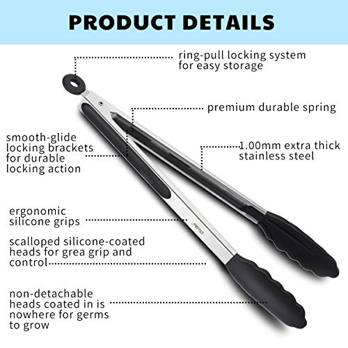 "iNeibo Kitchen Premium Silicone Tongs - Pack of 2, 9""and 12"" - Non-slip & Easy Grip Stainless Steel Handle - Smart Locking Clip - Heat Resistant, Food Grade - Handy Utensil For Cooking, Serving, Barbecue, Buffet, Salad, Ice, Oven (Black)"