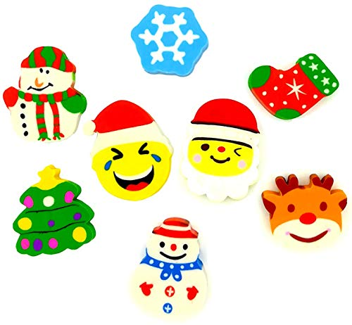 OHill 32 Pcs Christmas Erasers Holiday Erasers Novelty Erasers(8 Christmas Different Designs) for Christmas Party Favors, Stocking Stuffers, Kids Crafts, School Prizes and Goodies Bag Fillers