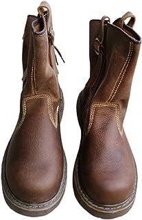 Bottes de travail vintage pour homme et femme, en cuir véritable, imperméables et résistantes à l'usure