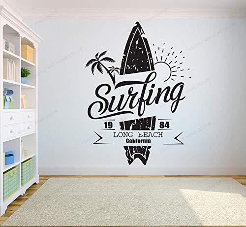 Surf Logo Sign Palmera Playa Sol Tabla de surf Mar Ola Exterme Surf Deportes Etiqueta de la pared Calcomanía de vinilo Dormitorio de niño Sala de estar Club Tienda Decoración para el hogar Mural