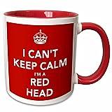 3dRose I Cant Keep Calm I'm A Red Head Two Tone Mug, 11 oz