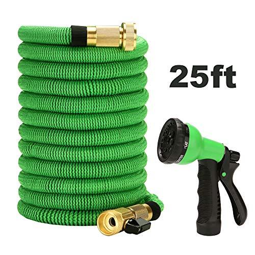 Benkeg manguera de jardín expansible,Pistola de agua en spray para jardín de automóviles con manguera expandible con boquilla de 6 funciones Manguera de agua flexible y duradera (25 pies)
