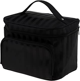 Perfk メイクアップバッグ 化粧品バッグ 化粧品 コスメ メイクアップ 収納 防水 耐摩耗 旅行用 バッグ メイクボックス 化粧ポーチ 5色選べる - ブラック