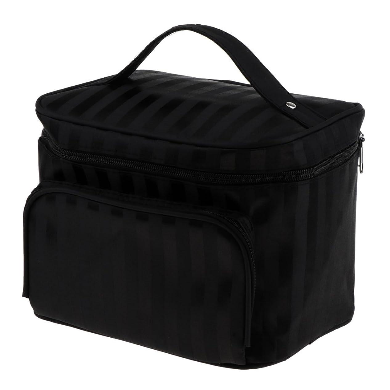 履歴書時代台無しにPerfk メイクアップバッグ 化粧品バッグ 化粧品 コスメ メイクアップ 収納 防水 耐摩耗 旅行用 バッグ メイクボックス 化粧ポーチ 5色選べる - ブラック