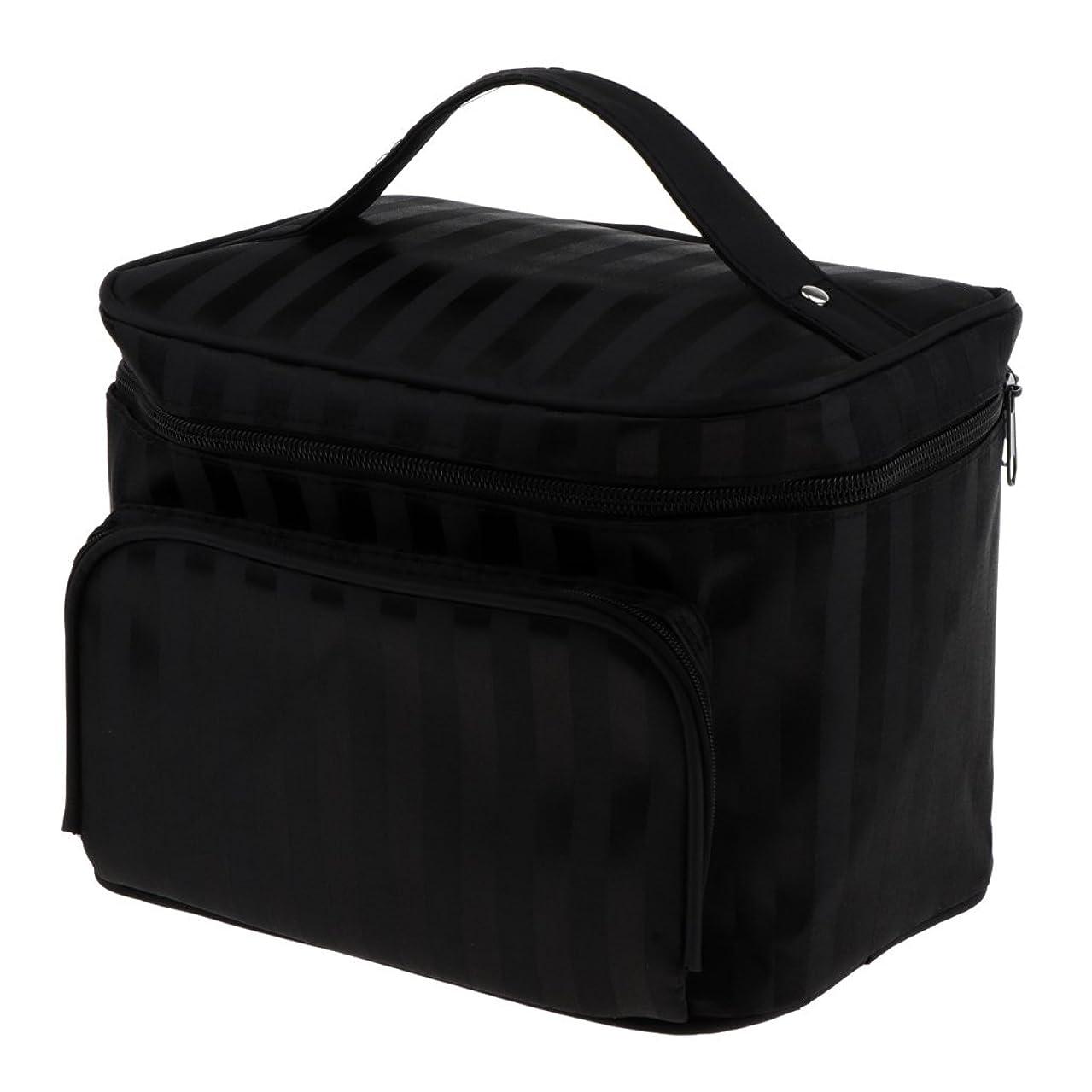落胆するオーナー資金Perfk メイクアップバッグ 化粧品バッグ 化粧品 コスメ メイクアップ 収納 防水 耐摩耗 旅行用 バッグ メイクボックス 化粧ポーチ 5色選べる - ブラック