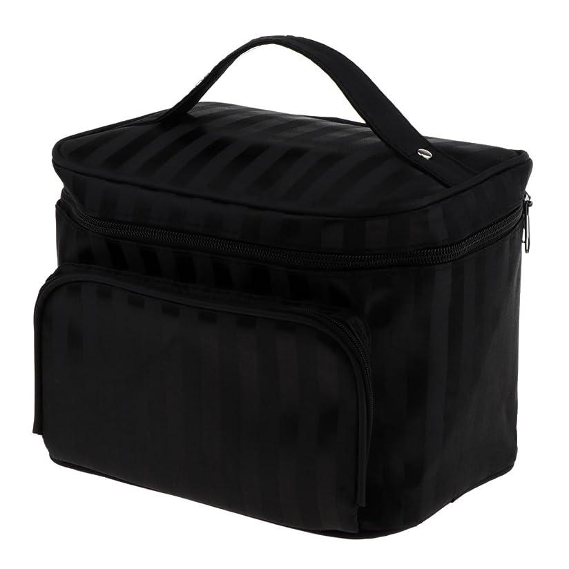 検査事故現代Perfk メイクアップバッグ 化粧品バッグ 化粧品 コスメ メイクアップ 収納 防水 耐摩耗 旅行用 バッグ メイクボックス 化粧ポーチ 5色選べる - ブラック