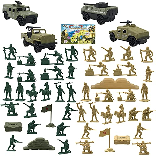 PPXMEEUDC 54 PCS Military Figures and Accessories Army Men Playset Military Weapons Soldier Toy Sets...
