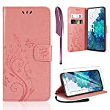 AROYI Lederhülle Kompatibel mit Samsung Galaxy S20 FE 4G/5G Hülle & Schutzfolie, Flip Wallet Handyhülle PU Leder Tasche Hülle Kartensteckplätzen Schutzhülle Rosa