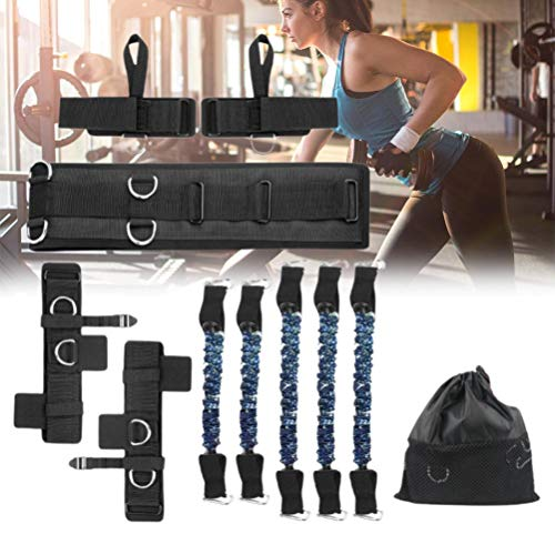 Lewpox Cinta de Resistencia, Cinta de Cinta de Resistencia, Cinta de Fitness, Cinta de Fitness con cinturón, bucles de pie y bucles de Guantes, Ideal para Pilates KraftTraining