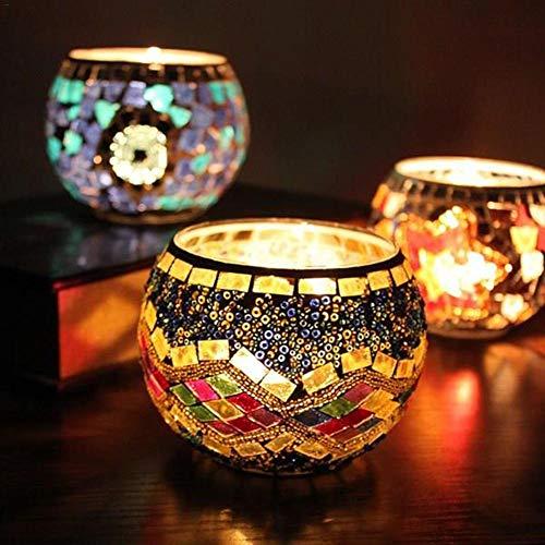 Kerzen Teelichthalter Teelichter, Mosaik Glas Kerzenhalter Kerzenständer Jahrgang Candelabra Bunte Romantische Hochzeit Heim Tabelle Hochzeit Dekor Geschenk